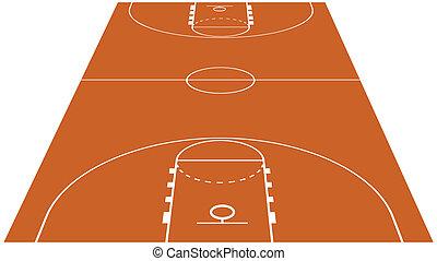 vecteur, cour basket-ball, illustration