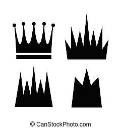 vecteur, couronne, collection, icône