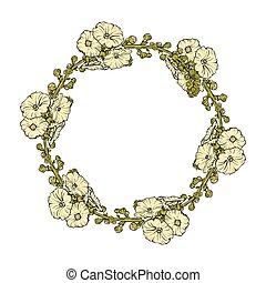 vecteur, couronne florale, isolé, illustration