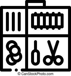 vecteur, couture, icône, cas, contour, kit, illustration