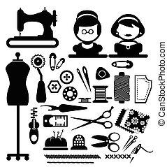 vecteur, couture, icônes