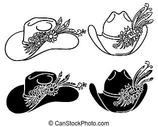vecteur, cow-boy, ensemble, chapeaux, isolé, floral, blanc, occidental, flowers., chapeau