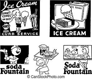 vecteur, crème, retro, glace, graphiques