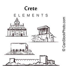 vecteur, crète, illustration., bâtiments, ensemble,...