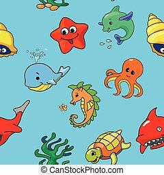 vecteur, créatures, modèle, dessin animé, seamless, mer