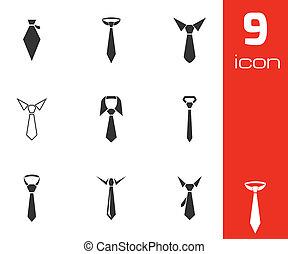 vecteur, cravate, ensemble, noir, icônes
