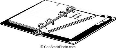 vecteur, crayon, cahier, ouvert, illustration