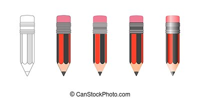 vecteur, crayon, ensemble, isolé, icônes