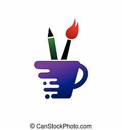 vecteur, crayon, tasse à café