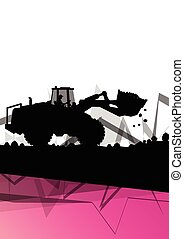 vecteur, creuser, excavateur, résumé, site, machinerie construction, fond, action, excavateur