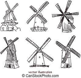 vecteur, croquis, éoliennes