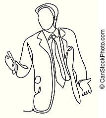 vecteur, croquis, concept, professionnels, drawing., bureau., continu, -, isolé, dessin, arrière-plan., lines., homme affaires, blanc, présentation, ligne, monochrome