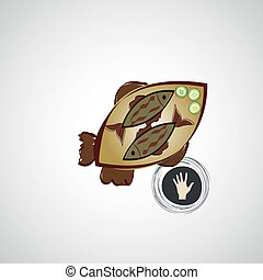 Plaque frit d jeuner plaque illustration d jeuner - Croquis poisson ...