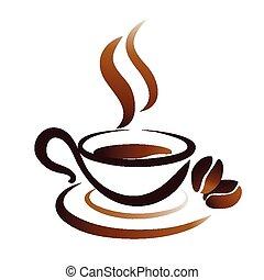 Dessin Tasse De Café Fumant stylisé, tasse à café, icône. stylisé, café, icône, conception, tasse.