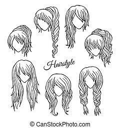 vecteur, croquis, ensemble, styles, cheveux