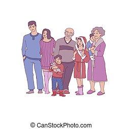 vecteur, croquis, grand, famille, caractère, étreindre, chez soi