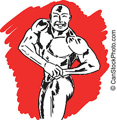 vecteur, croquis, illustration, bodybuilder.