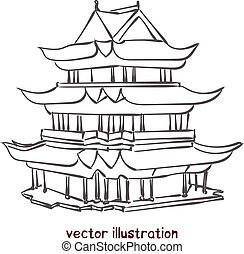 vecteur, croquis, pagode, chinois