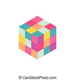 vecteur, cube, coloré