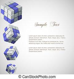 vecteur, cubes, fond, 3d