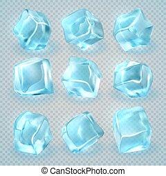 vecteur, cubes, réaliste, isolé, glace, arrière-plan., ensemble, transparent, 3d