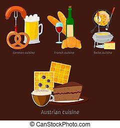 vecteur, cuisine, encas, italie, plaque, nourriture, projection, illustration, rustique, dîner, rome, plat, luxe, délicieux, savoureux, européen