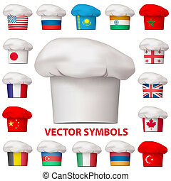 vecteur, cuisine, symbols., national, icons., ensemble