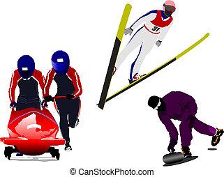 vecteur, curling., bobsleighing, ski, sport hiver, silhouettes., sauter, illustration