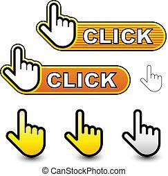 vecteur, déclic, main, curseur, étiquettes