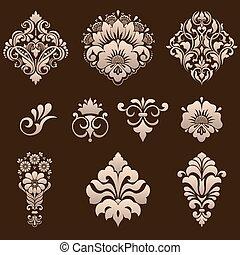 vecteur, décoratif, ensemble, elements., damassé