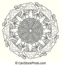 vecteur, décoratif, mandala, vendange, champignon, elements.