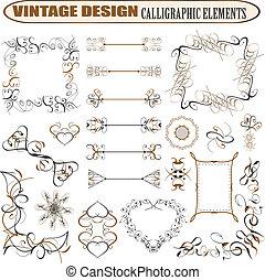 vecteur, décoratif, orné, éléments conception, &,...