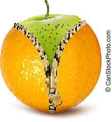 vecteur, défait, apple., régime, fruit, vert, contre, orange, cellulite.