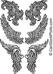 vecteur, démon, ailes, ange, &