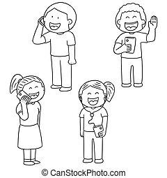 vecteur, dépendance, smartphone, ensemble