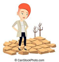 vecteur, désert, femme, illustration., triste