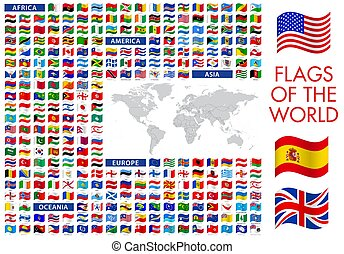 vecteur, détaillé, icône, mondiale, illustrations, drapeaux, carte