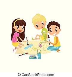vecteur, développement, peu, gosses, feuille, plancher, papier, peintures, séance, illustration, grand, concept, enfant, education, dessin, aquarell