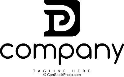 vecteur, d, p, 2, conception, lettre, logo, noir