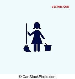 vecteur, dame, nettoyage, icône