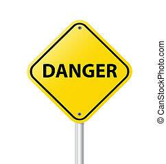 vecteur, danger, signe jaune, avertissement, il, fond, vide, blanc