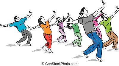 vecteur, danseurs, groupe ensemble, illustration