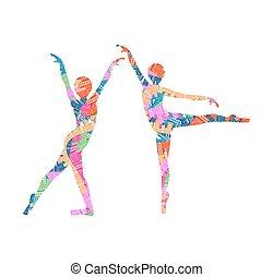 vecteur, danseurs, illustration