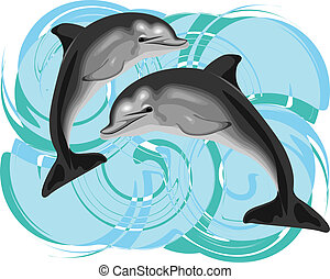 vecteur, dauphin, illustration