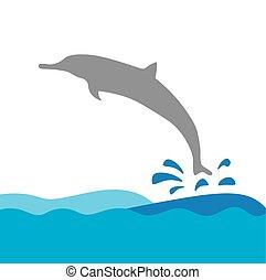 vecteur, dauphin, mer, illustration, vagues