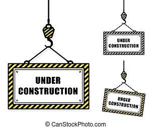 vecteur, de, construction, signes, et, grue, crochets