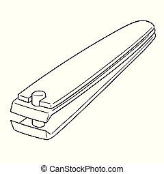 Ciseaux Croquis Vecteur Manucure Dessiner Illustration