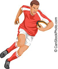 vecteur, de, joueur rugby, courant, à, ball.