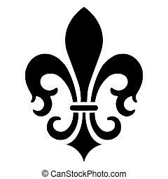 vecteur, de, lis, icône, fleur, francais, illustration