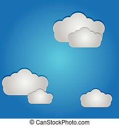 vecteur, de, nuages, et, ciel